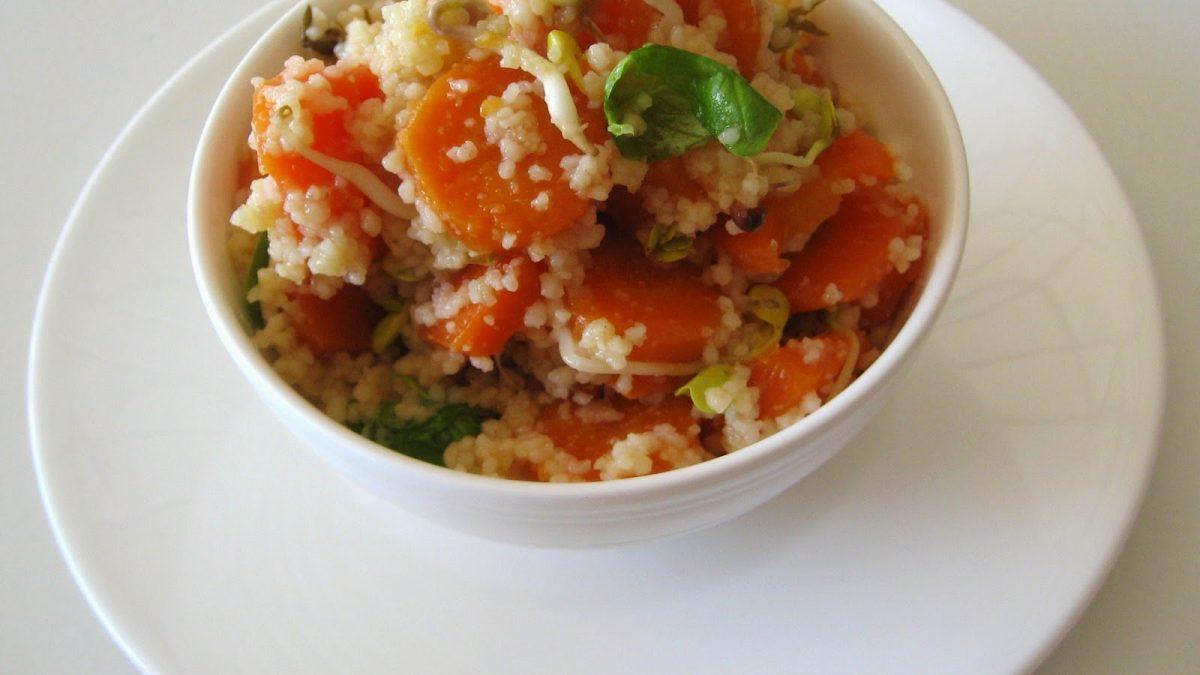 Cousous con carote, germogli e basilico
